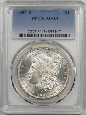 New Certified Coins 1894-S MORGAN DOLLAR PCGS MS-63 FLASHY & PQ, LOOKS MS-64!