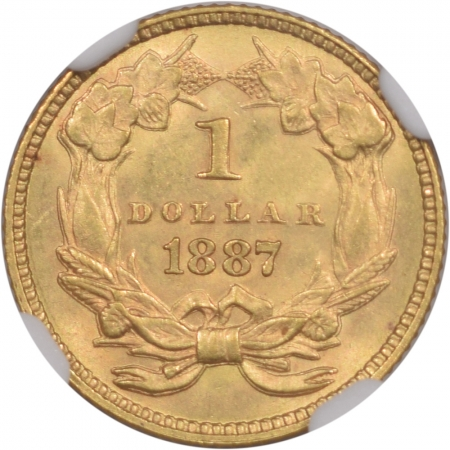 New Certified Coins 1887 $1 GOLD DOLLAR NGC MS-63