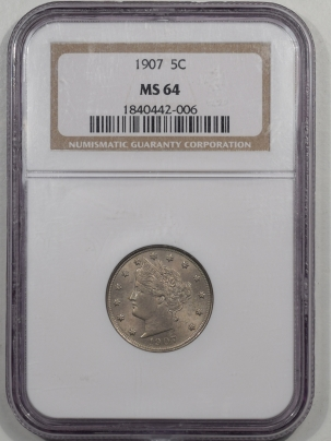 Liberty Nickels 1907 LIBERTY NICKEL NGC MS-64