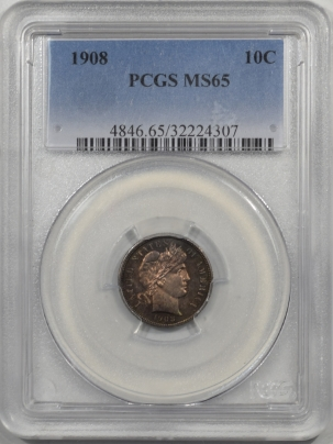 Barber Dimes 1908 BARBER DIME PCGS MS-65