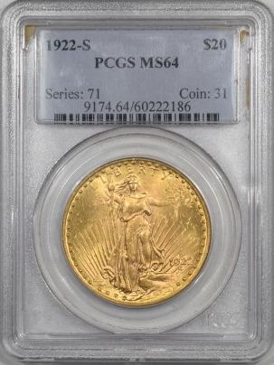 1922s-$20G-PCGS-MS64-186-1