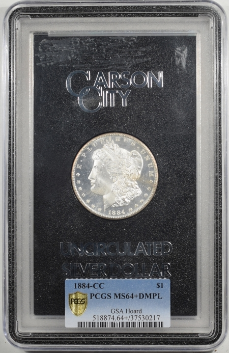 U.S. Certified Coins 1884-CC MORGAN DOLLAR GSA WITH BOX & CARD PCGS MS-64+ DMPL, BLACK & WHITE DEEP!