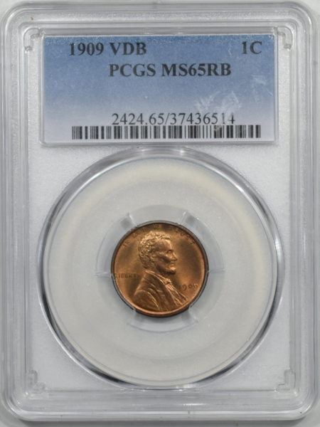 Lincoln Cents (Wheat) 1909 VDB LINCOLN CENT PCGS MS-65 RB