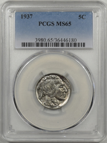 Buffalo Nickels 1937 BUFFALO NICKEL PCGS MS-65