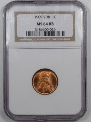 Lincoln Cents (Wheat) 1909 VDB LINCOLN CENT NGC MS-64 RB