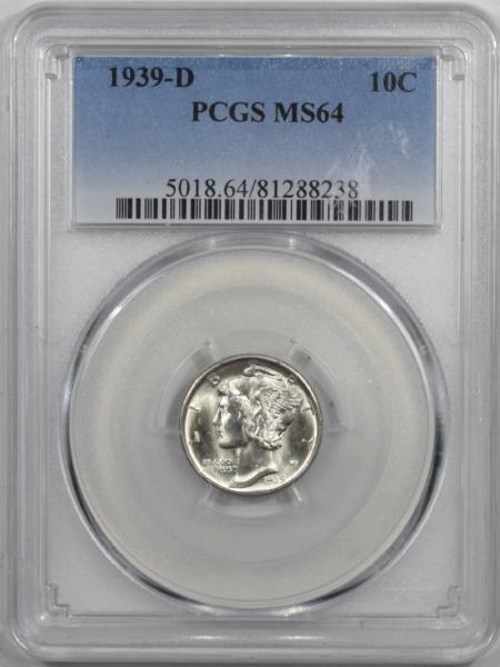 Mercury Dimes 1939-D MERCURY DIME PCGS MS-64