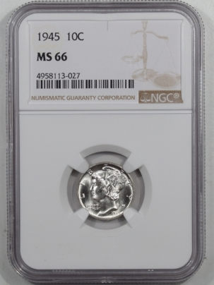 Mercury Dimes 1945 MERCURY DIME NGC MS-66