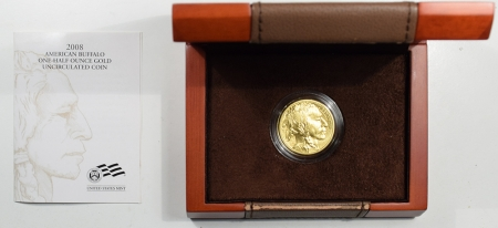 New Certified Coins 2008-W 1/2 OZ AMERICAN GOLD BUFFALO .9999 FINE GEM NEW UNCIRCULATED W/ BOX & COA