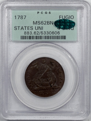 CAC Approved Coins 1787 FUGIO CENT STATES UNI 4 CINQ PCGS MS-62 BN PQ! OGH & VERY ORIGINAL! CAC!