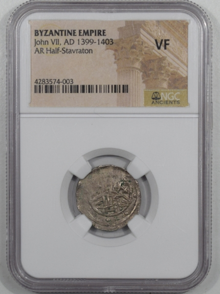 Ancient Certified Coins BYZANTINE EMPIRE JOHN VII AS REGENT AD 1399-1403 AR HALF STAVRATON NGC VF RARE