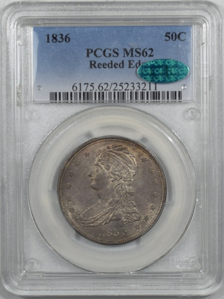 Coin World/Numismatic News Featured Coins 1836 CAPPED BUST HALF DOLLAR – REEDED EDGE PCGS MS-62 CAC, FRESH & PQ! CAC POP 2