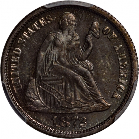 Coin World/Numismatic News Featured Coins 1872 PROOF SEATED LIBERTY DIME PCGS PR-64 LOOKS CAMEO!