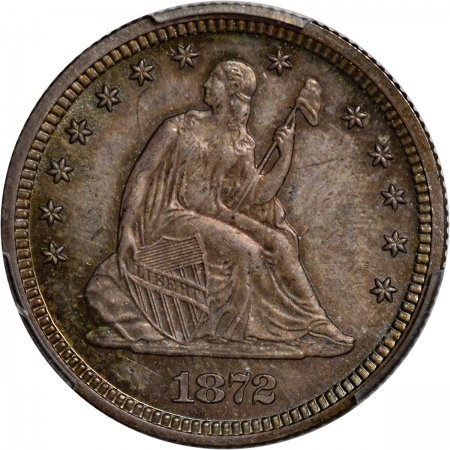 Coin World/Numismatic News Featured Coins 1872 PROOF SEATED LIBERTY QUARTER PCGS PR-64 CAC, ORIGINAL & PQ
