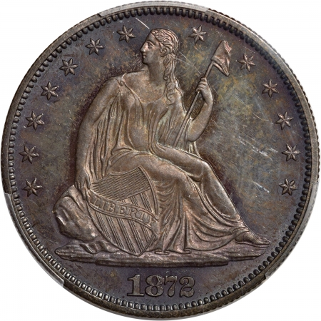 Coin World/Numismatic News Featured Coins 1872 PROOF SEATED LIBERTY HALF DOLLAR PCGS PR-64 PQ