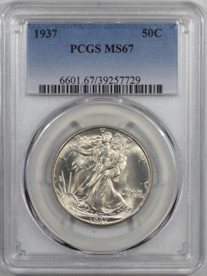 Coin World/Numismatic News Featured Coins 1937 WALKING LIBERTY HALF DOLLAR PCGS MS-67