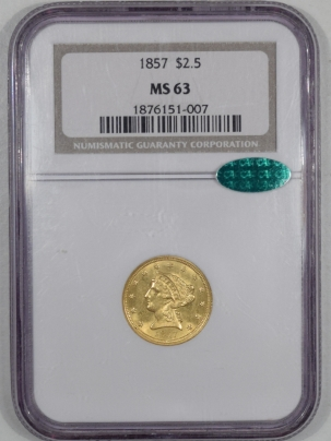 $2.50 1857 $2.50 LIBERTY GOLD NGC MS-63 RARE CAC APPROVED!