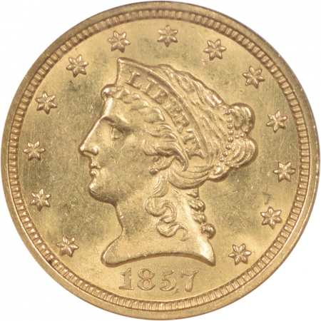 New Certified Coins 1857 $2.50 LIBERTY GOLD QUARTER EAGLE NGC MS-63 CAC, FRESH & FLASHY, SCARCE!