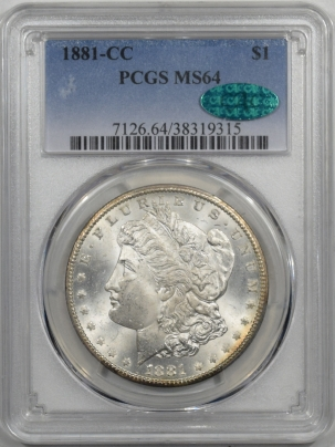 CAC Approved Coins 1881-CC MORGAN DOLLAR PCGS MS-64 PRETTY REVERSE PQ! CAC APPROVED!