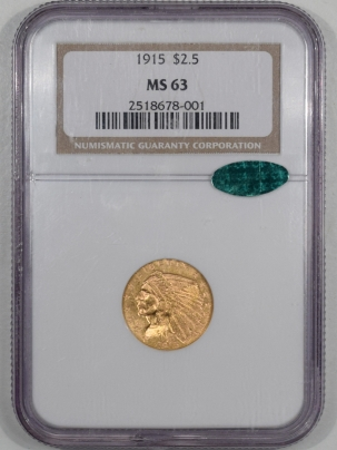 $2.50 1915 $2.50 INDIAN GOLD QUARTER EAGLE NGC MS-63 CAC, FLASHY & PQ!