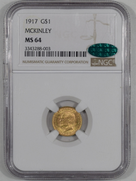 Coin World/Numismatic News Featured Coins 1917 $1 MCKINLEY COMMEMORATIVE GOLD NGC MS-64 CAC APPROVED