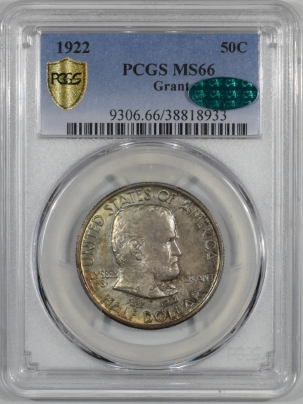 CAC Approved Coins 1922 GRANT COMMEMORATIVE HALF DOLLAR PCGS MS-66 REALLY PRETTY PQ CAC APPROVED
