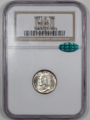 CAC Approved Coins 1931-D MERCURY DIME NGC MS-65 CAC APPROVED
