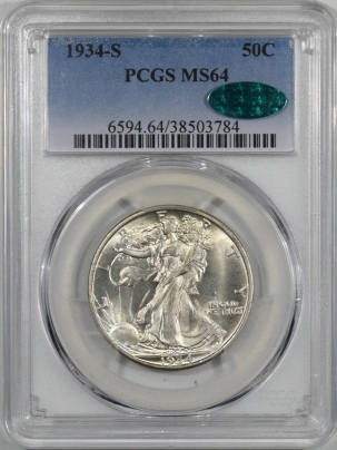 CAC Approved Coins 1934-S WALKING LIBERTY HALF DOLLAR PCGS MS-64 CAC APPROVED