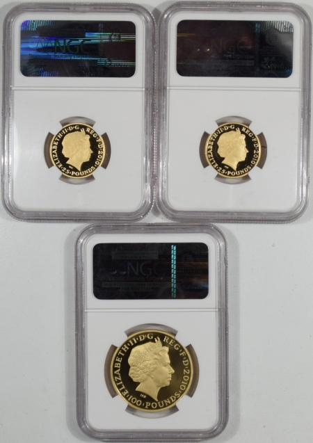 Coin World/Numismatic News Featured Coins 2010 GREAT BRITAIN GOLD 3 PC SET  LONDON OLY 100GBP + 25GBPx2 NGC GEM PR 1.5 OZ