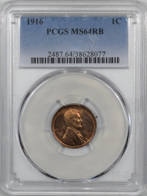 Lincoln Cents (Wheat) 1916 LINCOLN CENT PCGS MS-64 RB
