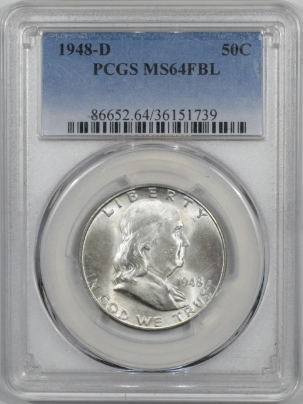 Franklin Halves 1948-D FRANKLIN HALF DOLLAR PCGS MS-64 FBL CRACK IN HOLDER, NICE COIN