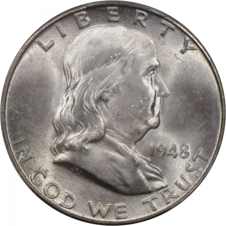 New Certified Coins 1948-D FRANKLIN HALF DOLLAR PCGS MS-64 FBL CRACK IN HOLDER, NICE COIN