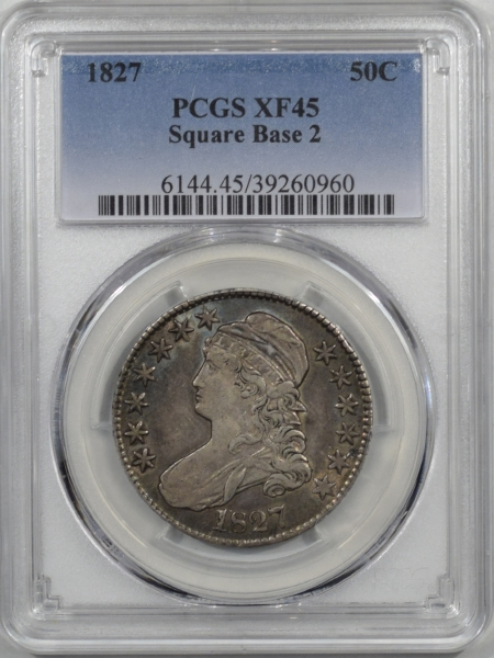 Coin World/Numismatic News Featured Coins 1827 CAPPED BUST HALF DOLLAR, SQUARE BASE 2, PCGS XF-45, PRETTY & ORIGINAL