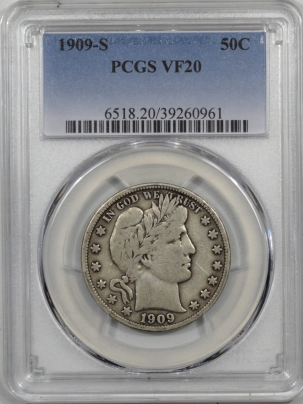 Barber Halves 1909-S BARBER HALF DOLLAR PCGS VF-20, ORIGINAL BOLD LIBERTY