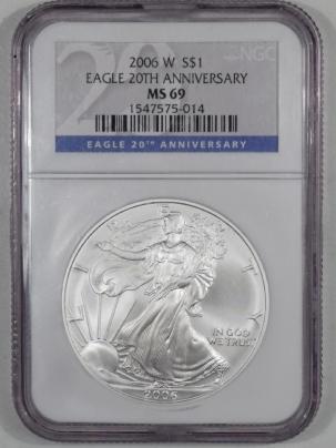 American Silver Eagles 2006-W AMERICAN SILVER EAGLE 20TH ANNIVERSARY NGC MS-69