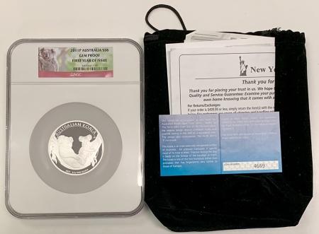 New Certified Coins 2011-P $8 AUSTRALIA 5 OZ .999 SILVER, KM-1841 MINTAGE EST 5000 – NGC GEM PROOF