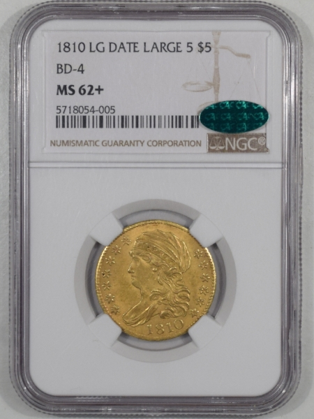 Coin World/Numismatic News Featured Coins 1810 $5 CAPPED BUST LEFT GOLD HALF EAGLE LG DATE LG 5 NGC MS62+ CAC, ORIG & PQ!
