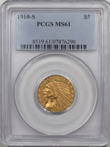 Coin World/Numismatic News Featured Coins 1910-S $5 INDIAN GOLD PCGS MS-61