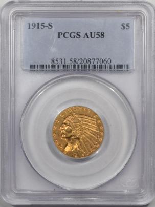 $5 1915-S $5 INDIAN GOLD PCGS AU-58 PQ!