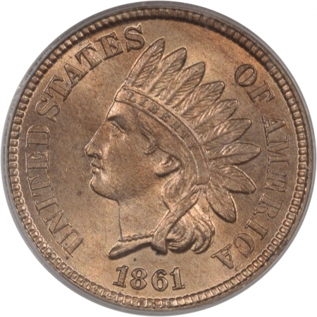 Coin World/Numismatic News Featured Coins 1861 INDIAN CENT – EAGLE EYE PCGS MS-63 PQ MS-64 QUALITY, OLD GREEN HOLDER
