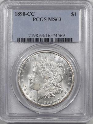 Coin World/Numismatic News Featured Coins 1890-CC MORGAN DOLLAR PCGS MS-63 FLASHY!