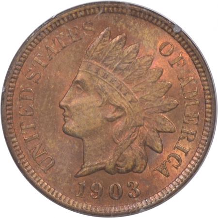 New Certified Coins 1903 INDIAN CENT PCGS MS-64 RB PQ! RATTLER
