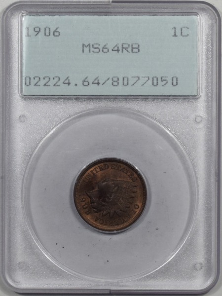 New Certified Coins 1906 INDIAN CENT PCGS MS-64 RB PQ! RATTLER!