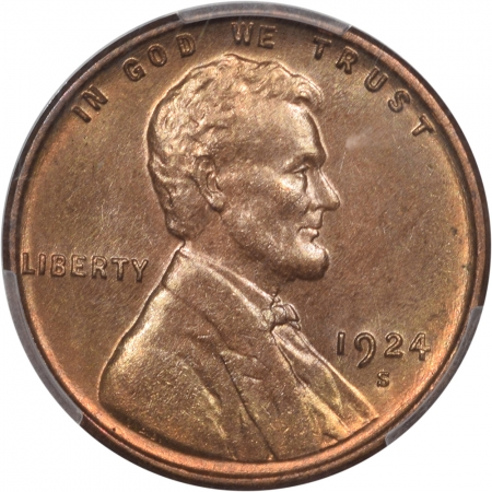 Coin World/Numismatic News Featured Coins 1924-S LINCOLN CENT PCGS MS-65 RB PQ! NEARLY FULL RED, CAC APPROVED!