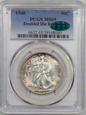 CAC Approved Coins 1946 WALKING LIBERTY HALF DOLLAR – DOUBLED DIE REVERSE PCGS MS-65 WHITE PQ CAC