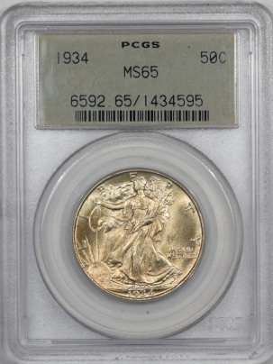 Coin World/Numismatic News Featured Coins 1934 WALKING LIBERTY HALF DOLLAR PCGS MS-65 PQ! OGH