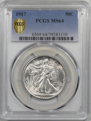 New Certified Coins 1917 WALKING LIBERTY HALF DOLLAR PCGS MS-64 BLAST WHITE