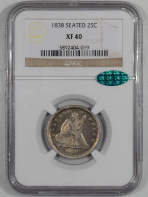 Liberty Seated Quarters 1838 LIBERTY SEATED QUARTER, NGC XF-40, CAC-ORIGINAL & WHOLESOME!