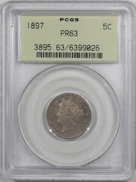 Coin World/Numismatic News Featured Coins 1897 LIBERTY NICKEL, PCGS PR-63, OGH & REALLY PQ!