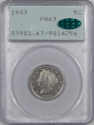 Coin World/Numismatic News Featured Coins 1903 LIBERTY NICKEL, PCGS PR-63, CAC, OLD RATTLER HOLDER & PQ!