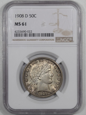 Barber Halves 1908-D BARBER HALF DOLLAR, NGC MS-61, FRESH, ORIGINAL & A REAL B.U.!